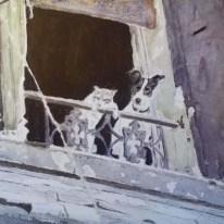 Hund och katt i Paris - Akvarell av Jan Lindgren