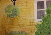 Honungsfärgad blomstervägg - Akvarell av Jan Lindgren