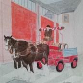 Bryggarhästar - Akvarell av Jan Lindgren