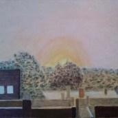 Soluppgång i höstdimma - Oljemålning på linneduk av Jan Lindgren