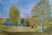 Utsikt över sjön - Akvarell av Jan Lindgren