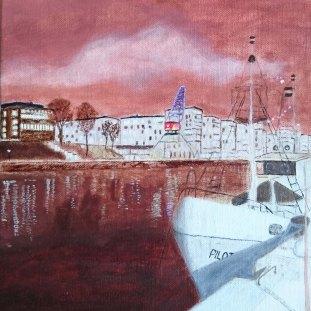 Pilot - oljemålning på linneduk av Jan Lindgren