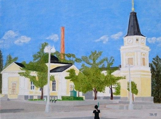 Kyrka och skorsten - oljemålning på linneduk av Jan Lindgren