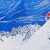 Alpin skidåkare - olja på linneduk av Jan Lindgren