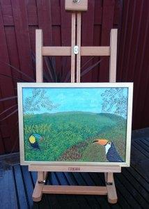 Kärlek vid första ögonkastet - oljemålning på linneduk av Jan Lindgren, 2015
