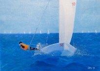 Segel på öppet hav - Oljemålning på linneduk av Jan Lindgren