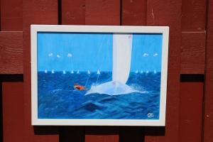 Kappsegling. Oljemålning på linneduk av Jan David Lindgren