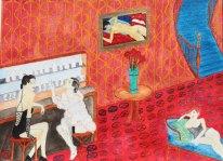 Glädjehus i Paris. Akvarell av JDL. Liggande A3