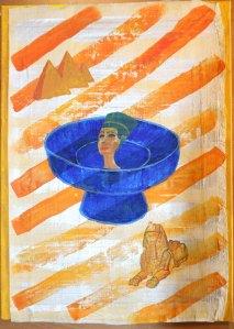Egypten. Akryl på Papyrus av Jan David Lindgren