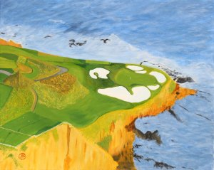 Pebble Beach. Oljemålning på linneduk av JDL. 47 x 38 cm