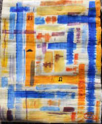 Waterloo. Akryl på Papyrus från Egypten av Jan D Lindgren