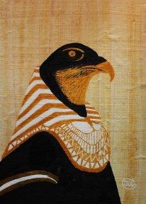 Horus. Akryl på papyrus från Egypten av Jan D Lindgren