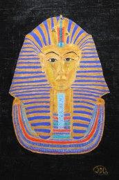 Guldmask. Akryl på papyrus av Jan D Lindgren