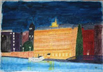 Blasieholmen. Akvarell av Jan D Lindgren