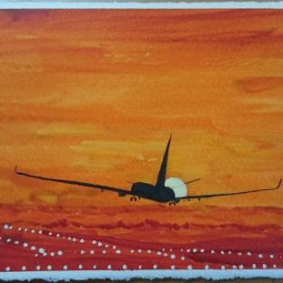 Landar i solnedgång. Akvarell av Jan D Lindgren