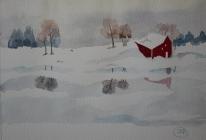 Vinterlandskap. Akvarell