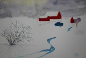 Vintersol. Akvarell