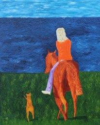 Ridtur i sällskap med Irländsk Terrier. Oljemålning av Jan D Lindgren
