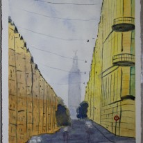 Stockholmsgata. Akvarell av Jan D Lindgren