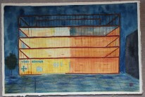 Nya kommunhuset. Akvarell av Jan David Lindgren