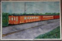 Roslagsbanan. Akvarell av Jan David Lindgren
