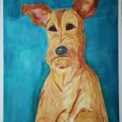 Irländsk terrier. Akvarell av Jan David Lindgren