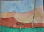 Berg i Mogán. Akvarell av Jan David Lindgren