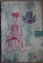 Havsliv. Akvarell av Jan David Lindgren