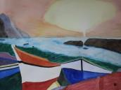 Vid stranden. Akvarell av Jan David Lindgren