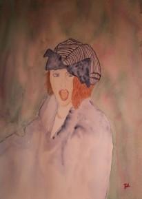 Porträtt i akvarell av Jan David Lindgren