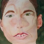 Kvinnoansikte. Akvarell av Jan David Lindgren