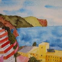 Utsikt från Calle Bajamar 8. Akvarell av Jan David Lindgren