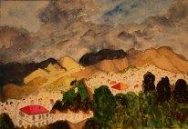 Berg i Nerja. Akvarell av Jan David Lindgren