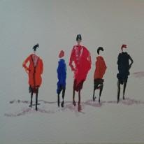 Figurer utan detaljer. Akvarell av Jan David Lindgren