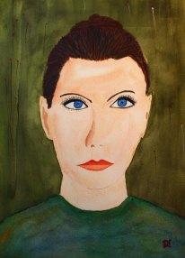 Fröken Näsvis i knut. Akvarell av Jan David Lindgren