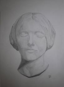 Jeune Femme. Blyertsteckning av Jan David Lindgren
