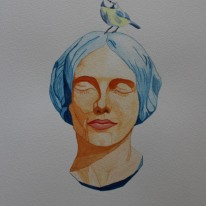 Kvinna med fågel. Akvarell av Jan David Lindgren