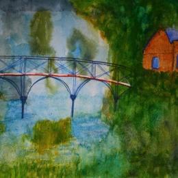 The Swiss Bridge. Akvarell av Jan David Lindgren