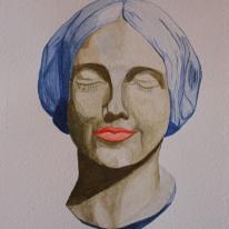Kvinna - grön. Akvarell av Jan David Lindgren