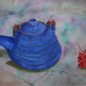 Tekanna. Akvarell av Jan David Lindgren