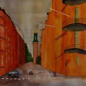 Gatuvy. Akvarell av Jan David Lindgren